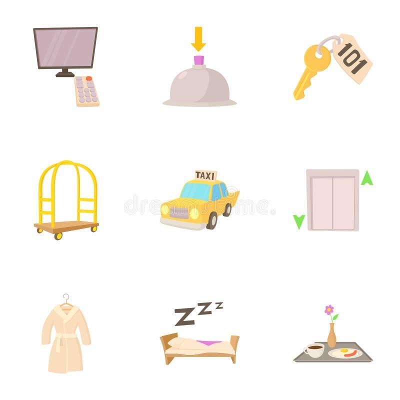 Hotelowe kurort ikony ustawiać, kreskówka styl ilustracji