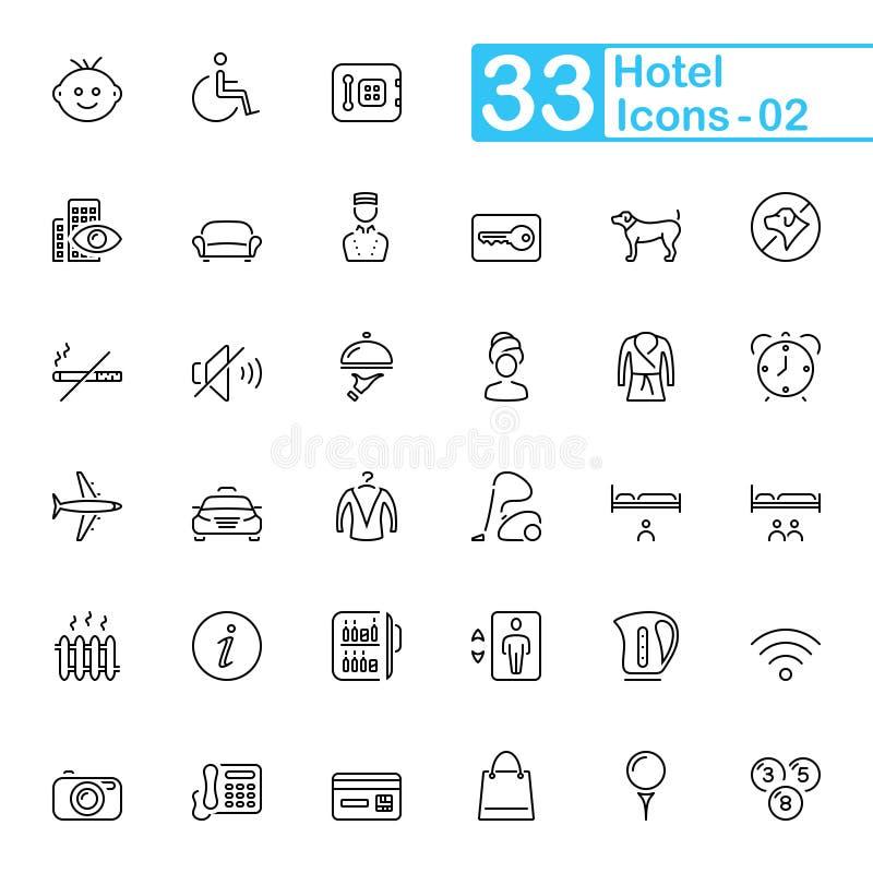 Hotelowe usługa i podróż konturu ikony obraz stock