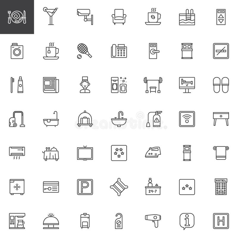 Hotelowe usługa i udostępnienia wykładają ikony ustawiać ilustracji