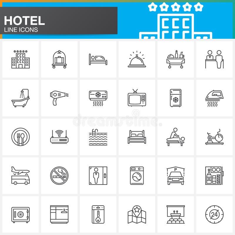 Hotelowe usługa i udostępnienia wykładają ikony ustawiać, konturu symbolu wektorowa kolekcja, liniowa piktogram paczka Znaki, log ilustracji