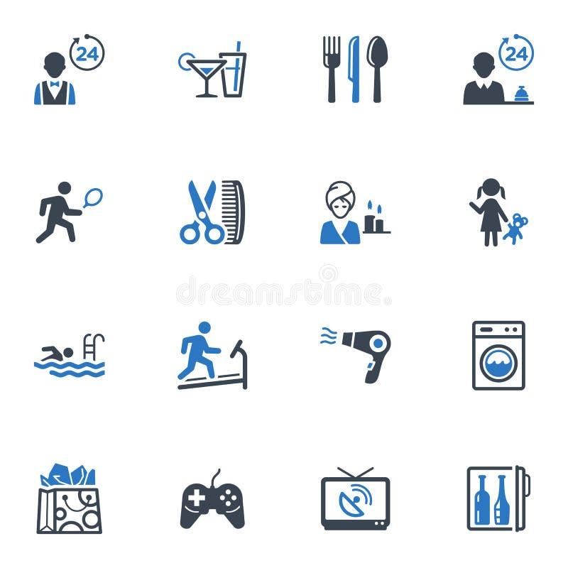 Hotelowe usługa i udostępnienie ikony, Ustawiają 2 - błękit  royalty ilustracja
