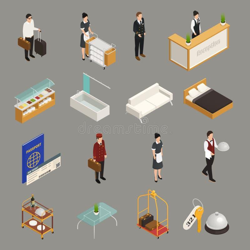 Hotelowe Usługowego personelu Isometric ikony ilustracji