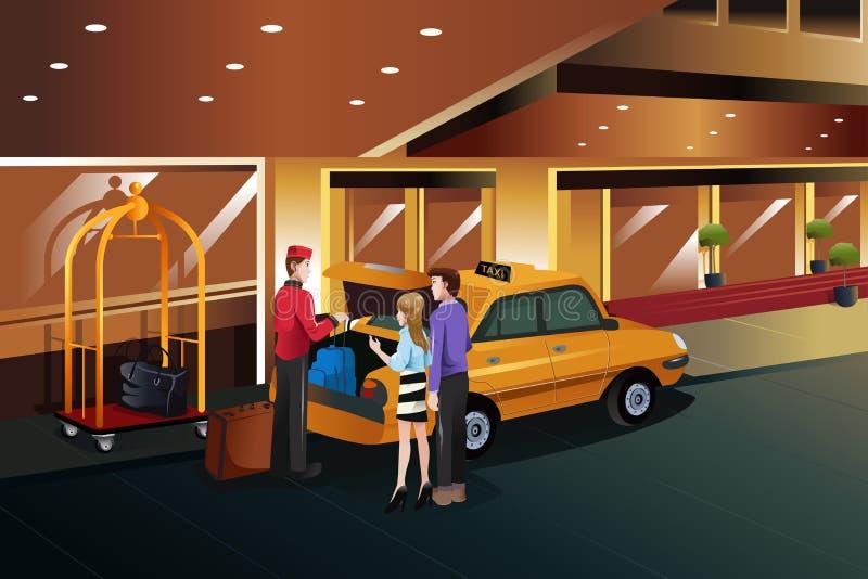 Hotelowego bellboy pomaga klienci royalty ilustracja