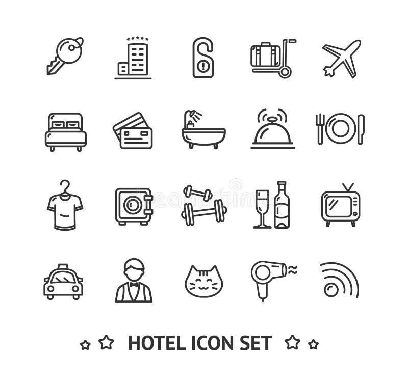 Hotelowej ikony linii Cienki set wektor royalty ilustracja