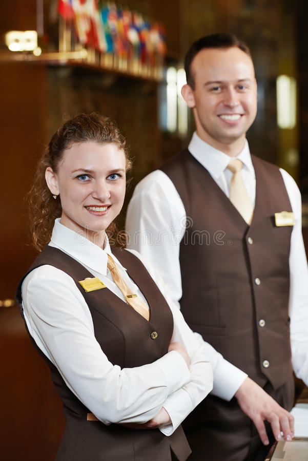 Hotelowi pracownicy na przyjęciu fotografia stock