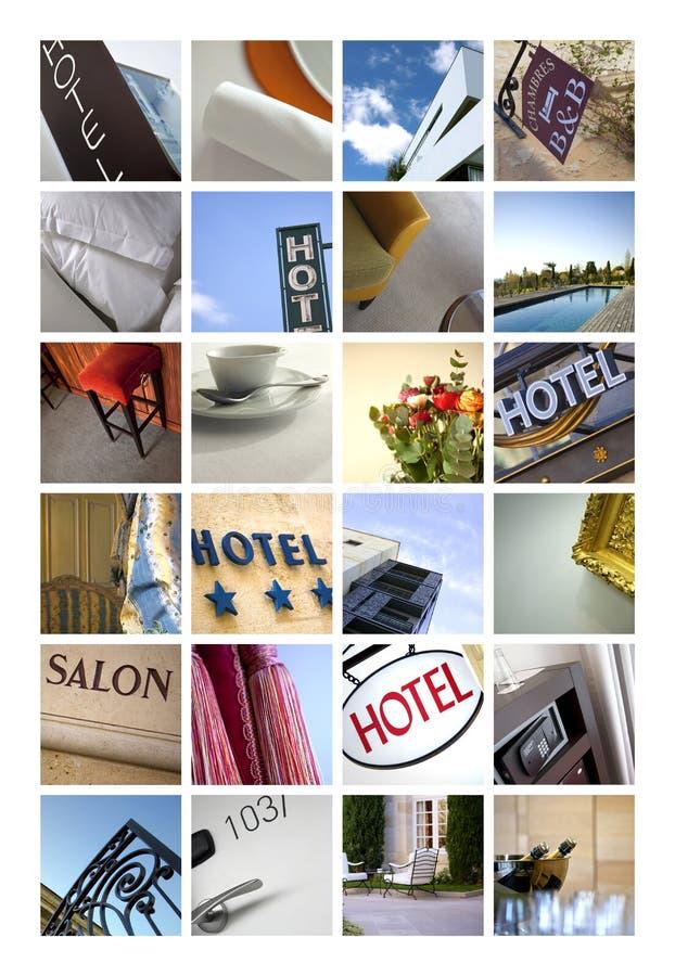 Hotelowi wizerunki na kolażu obrazy royalty free