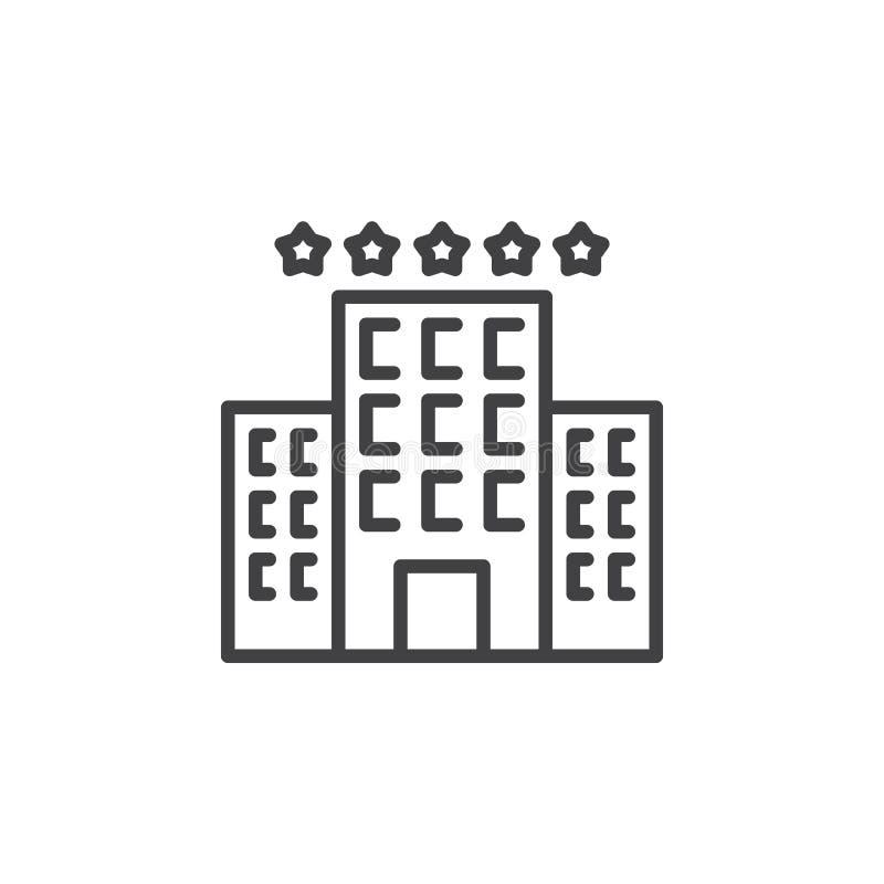 Hotelowy budynek z gwiazdy kreskową ikoną, konturu wektoru znak, liniowy piktogram odizolowywający na bielu ilustracja wektor