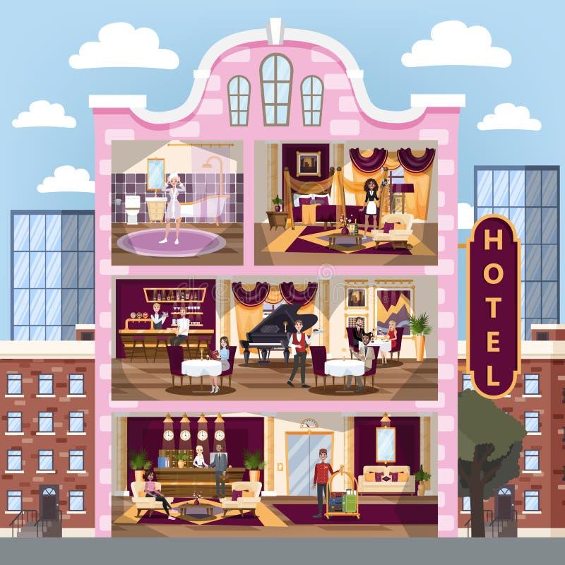 Hotelowy budynku wnętrze Restauracja i przyjęcie, pokój royalty ilustracja