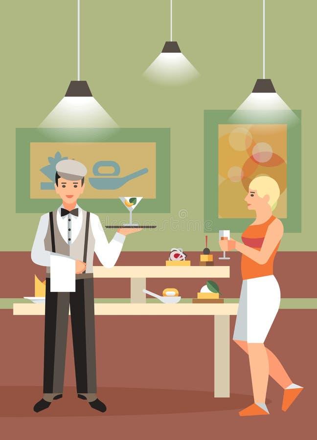 Hotelowy bufet, Restauracyjna Płaska Wektorowa ilustracja royalty ilustracja