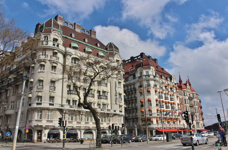 Hotelowy esplanady i hotelu dyplomata na Strandvägen zdjęcia royalty free