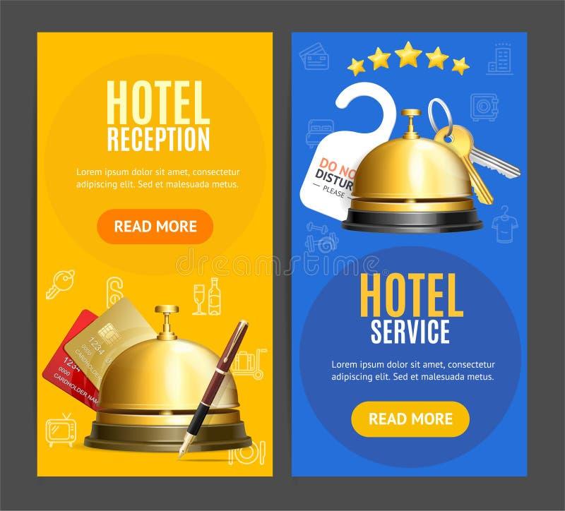 Hotelowy przyjęcie usługa sztandaru Vertical Ustawia z Realistycznymi Szczegółowymi 3d elementami wektor ilustracji