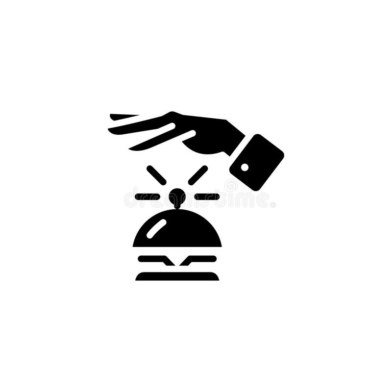 Hotelowy reciption czerni ikony pojęcie Hotelowego reciption płaski wektorowy symbol, znak, ilustracja ilustracji
