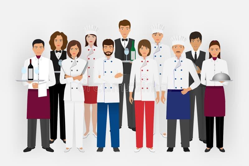 Hotelowy restauraci drużyny pojęcie w mundurze Grupa cateringów charaktery stoi wpólnie szefa kuchni, kucharza, kelnerów i barman royalty ilustracja