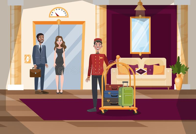 Hotelowy sali lub korytarza wnętrze jednolity pracownik ilustracja wektor