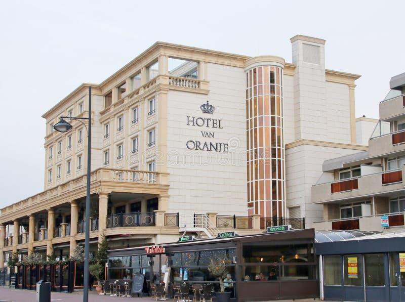 Hotelowy Samochód dostawczy Oranje, hotel pomarańcze jako wysokiego społeczeństwa miejsce przy nadmorski w Noordwij fotografia stock