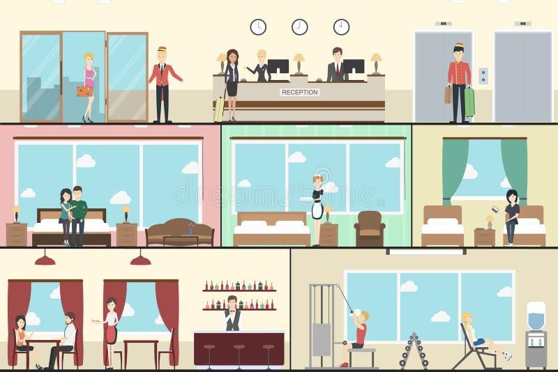 Hotelowy wnętrze set royalty ilustracja