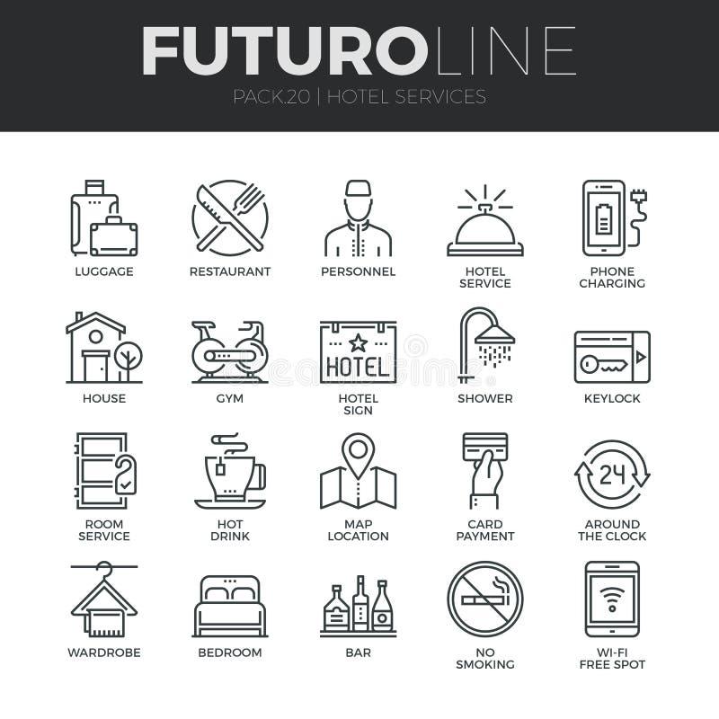 Hotelowych usługa Futuro linii ikony Ustawiać royalty ilustracja