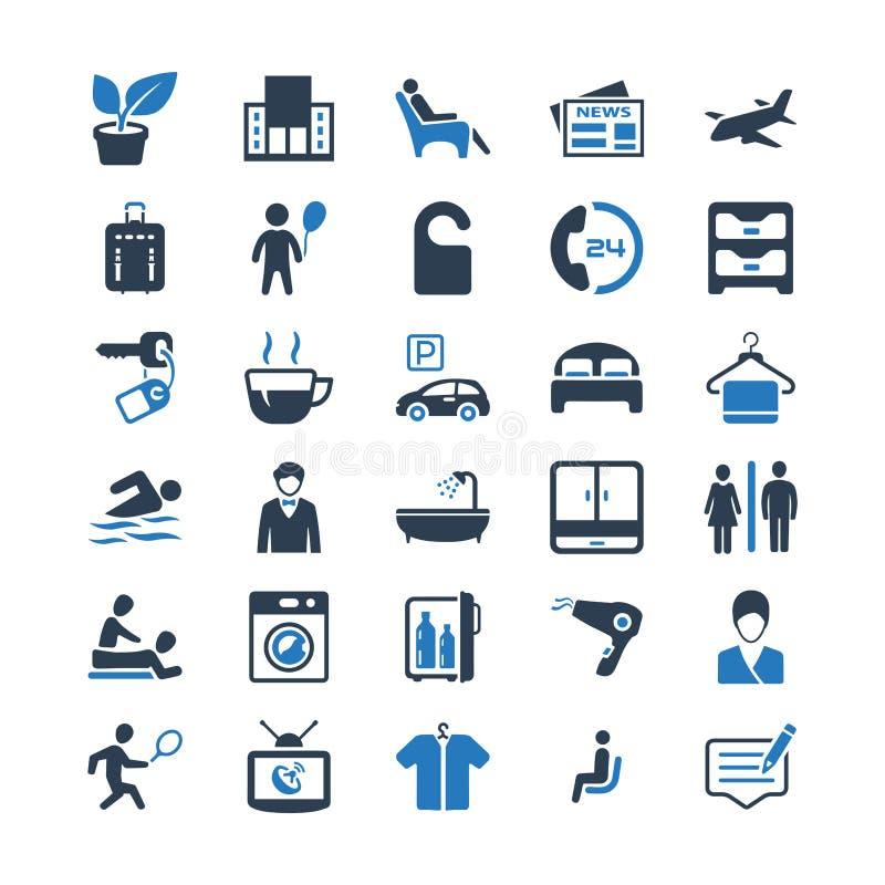 Hotelowych usługa ikony Ustawiać - Błękitna wersja royalty ilustracja