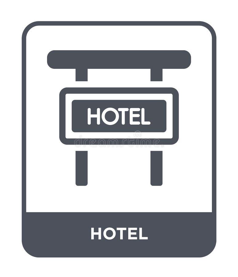 hotelpictogram in in ontwerpstijl Hotelpictogram op witte achtergrond wordt geïsoleerd die eenvoudige en moderne vlakke symbool v vector illustratie