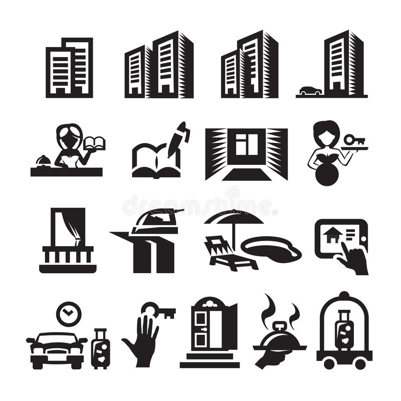 Hotelpictogrammen vector illustratie