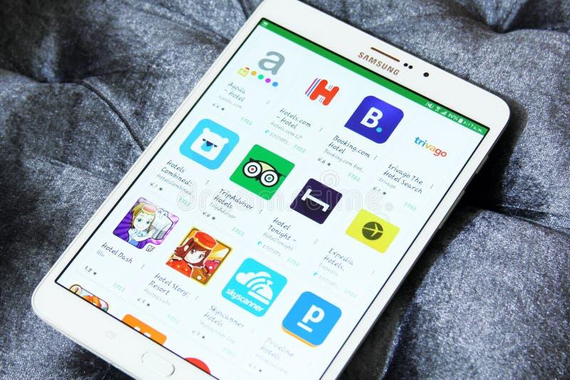 Hotelreservering apps op googlespel royalty-vrije stock fotografie