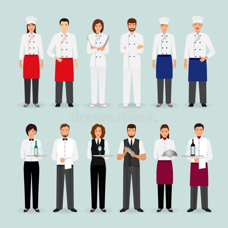Hotelrestaurantmann und weibliches Team in der einheitlichen Gruppe Cateringcharakteren, die zusammen stehen, begrüßend Fahne lizenzfreie abbildung