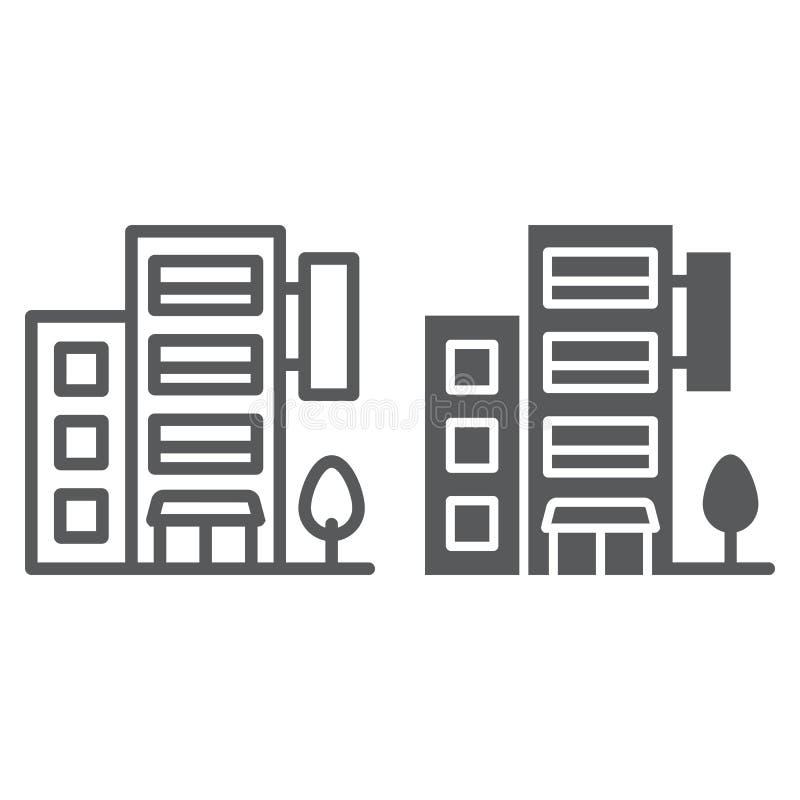 Hotelrooilijn en glyph pictogram, reis en toerisme, de vectorafbeeldingen van het flatteken, een lineair patroon op een wit royalty-vrije illustratie
