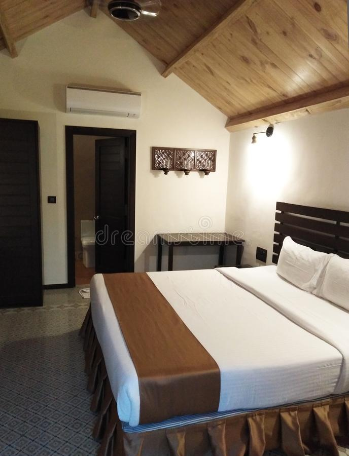 Hotelruimte in mandrem-Ashvem, Goa, India royalty-vrije stock afbeelding