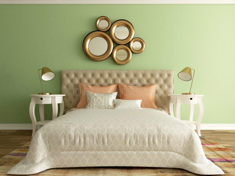 Hotelruimte, slaapkamer binnenlandse, moderne ruimte stock illustratie