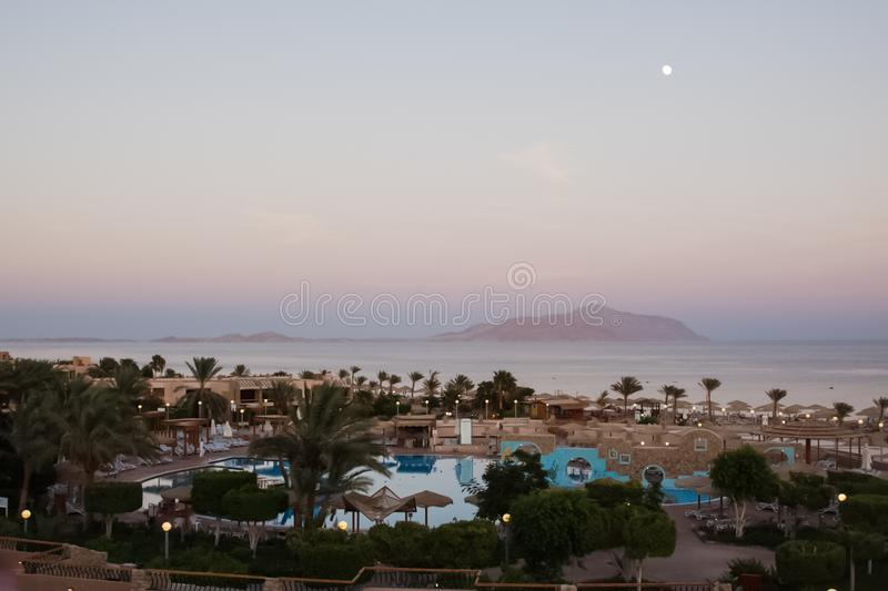 Hotels and beach infrastructure in the tourist part of Sharm El Sheikh. Egyptian resort. Sharm El Sheikh, Egypt - June 23, 2013: Hotels and beach infrastructure royalty free stock photography