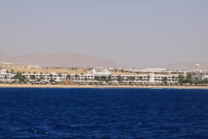 Hotels and beach infrastructure in the tourist part of Sharm El Sheikh. Egyptian resort. Sharm El Sheikh, Egypt - June 23, 2013: Hotels and beach infrastructure royalty free stock photos