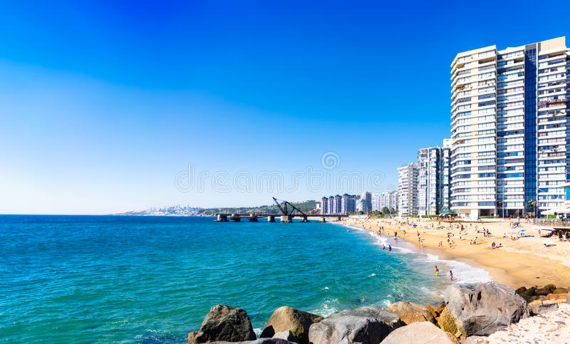 Hotels on the beach in Vina del Mar, Chile. Hotels on the sand beach in Vina del Mar, Chile stock photo