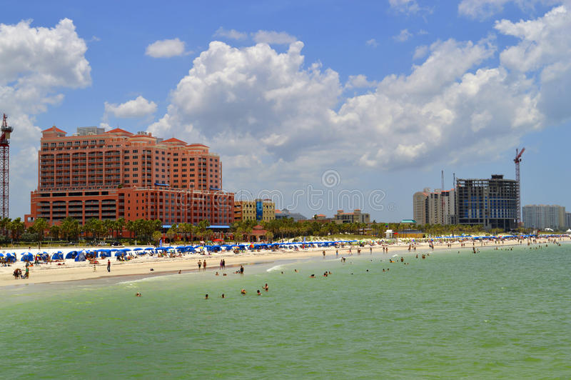 Hotels on Clearwater Beach in Florida. USA royalty free stock image
