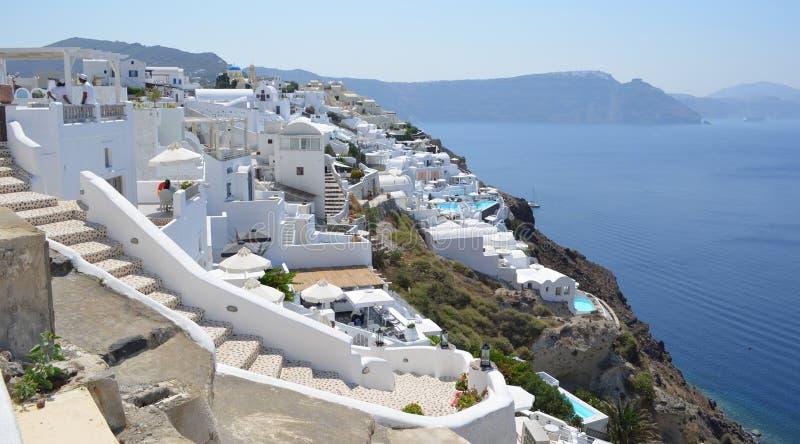 Hotels on Cliff Edge Oia Santorini stock photography
