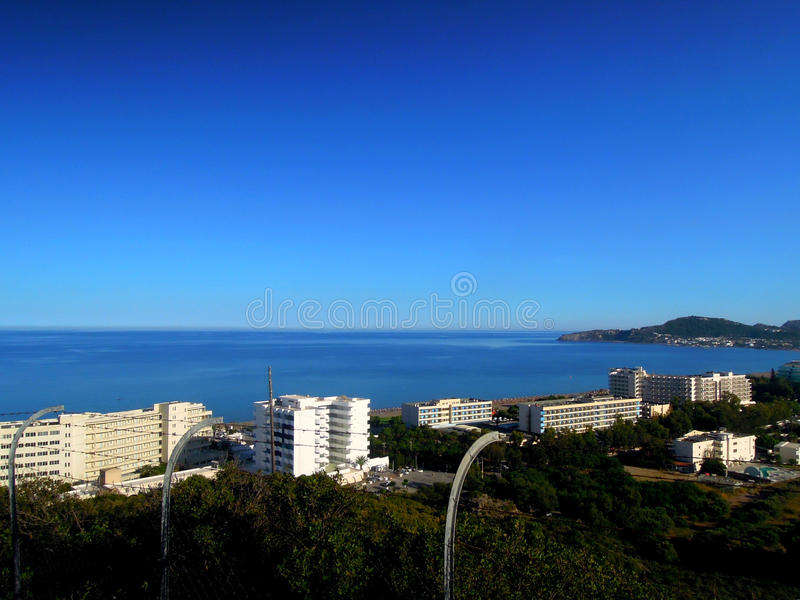 Hotels on the coast of the Mediterranean sea stock photography