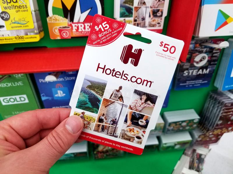 Hotels.com gift card in a hand royalty free stock images