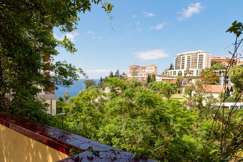 Hotels Funchal on the high coast of Madeira, Portugal stock photography