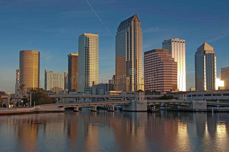 Tampa skyline in early morning sunrise stock photography