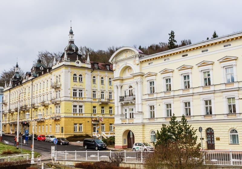 Hotels in small west Bohemian spa town Marianske Lazne Marienb. Ad in winter - Czech Republic royalty free stock photo