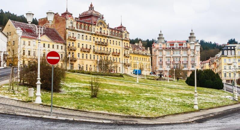 Hotels in small west Bohemian spa town Marianske Lazne Marienb. Ad in winter - Czech Republic stock photography