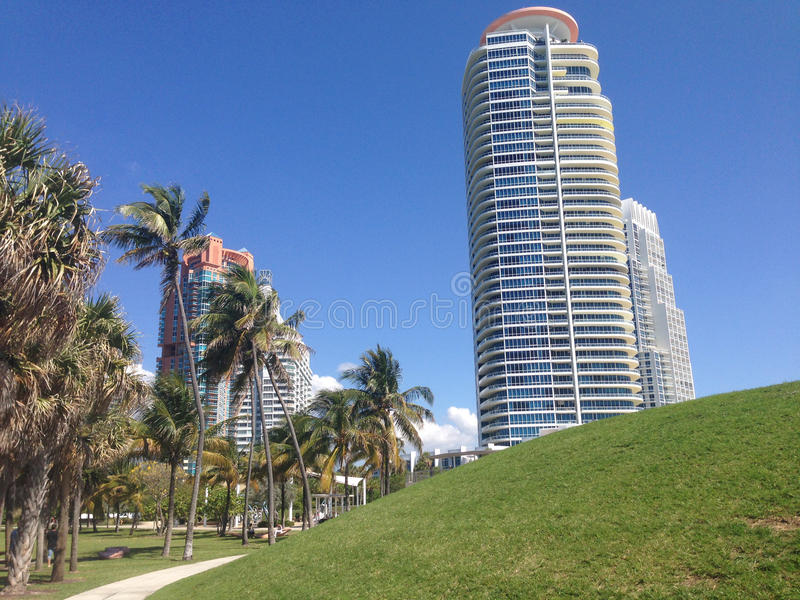 Hotels at south pointe beach royalty free stock photo
