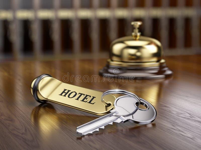Hotelschlüssel- und -aufnahmeglocke stock abbildung