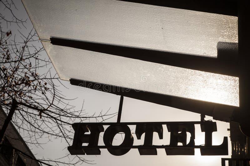Hotelsymbool met exemplaarruimte royalty-vrije stock afbeelding