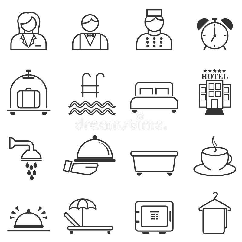 Hotelu, gościnności i kurortu sieci kreskowe ikony, ilustracja wektor