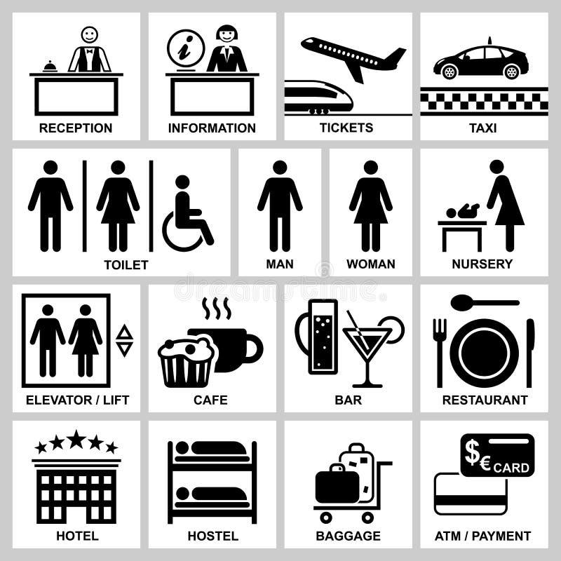 Hotelu i staci wektorowe ikony ustawiać obraz royalty free