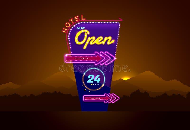 Hotelu szyldowy buib, neonowy i otwieramy royalty ilustracja
