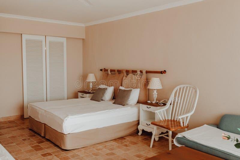 Hotelzimmer-einfacher Innendoppelbett-Brown-Entwurf stockfoto