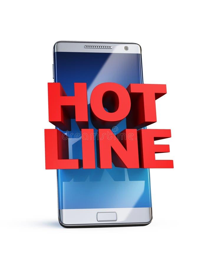 Hotlineconcept, 3d brieven op slimme telefoon vector illustratie