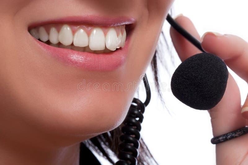 Hotlinesbediener mit Kopfhörer lizenzfreies stockbild