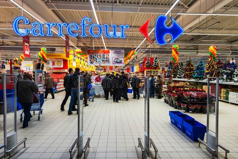 Hotos oppening del Carrefour di ipermercato a grande in Galati immagine stock libera da diritti